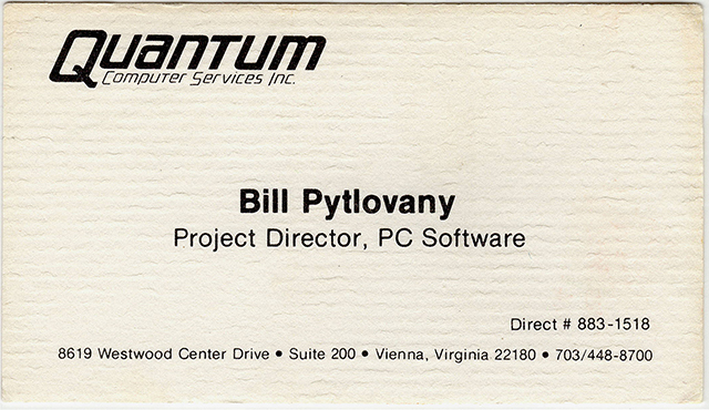 First Business card for Bill Pytlovany, Project Director