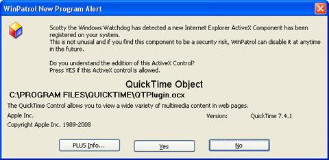 WinPatrol ActiveX Alert