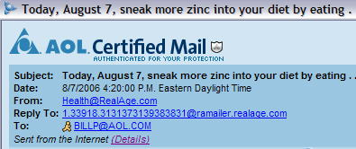 Recent sample of AOL legitimate SPAM