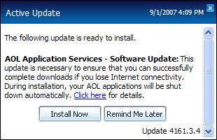AOL Update dialog