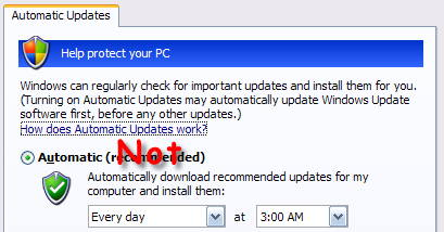 Windows Automatic Update Settings