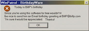 Old WinPatrol Birthdayware message