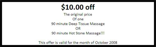 $10 off a deep tissue massage