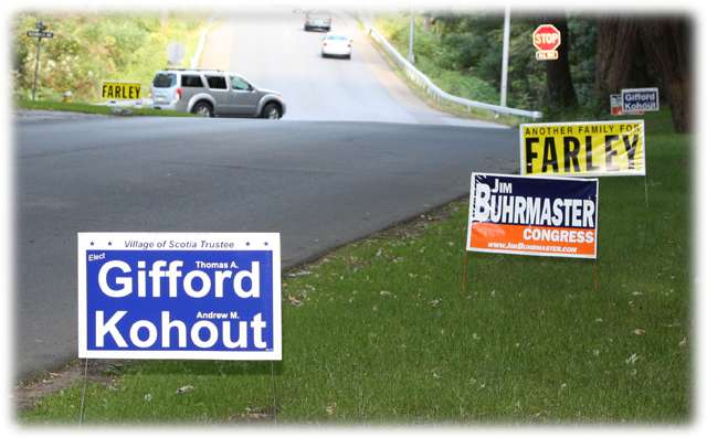 Election signs in the Village of Scotia