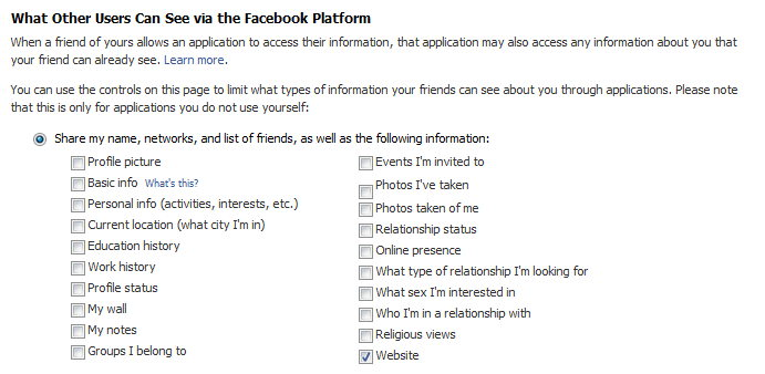 Facebook Applications can access this info