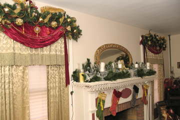 Window treatments and Fireplace in the Victorian Room