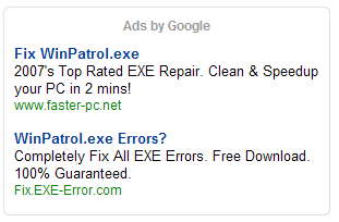 Google Ads found on pages that mention WinPatrol