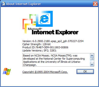 Downgraded to IE6
