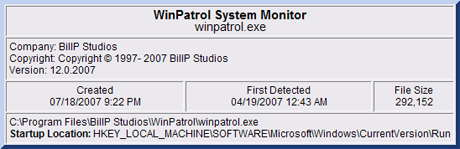 New WinPatrol Info dialog