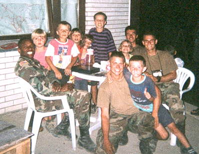 Kids of Kosovo with their freinds from Camp Bondsteel