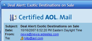Junk mail certified by AOL