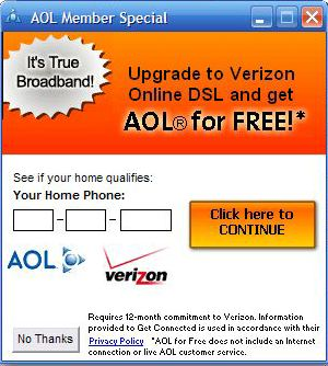 AOL wants to force DSL down my throat.