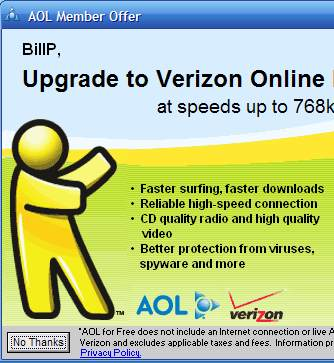 You'd think AOL knew I was already using Broadband.