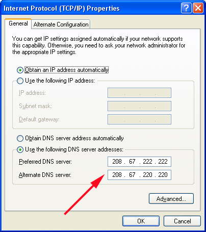 Click to use an new DNS