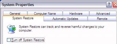 System Restore Dialog