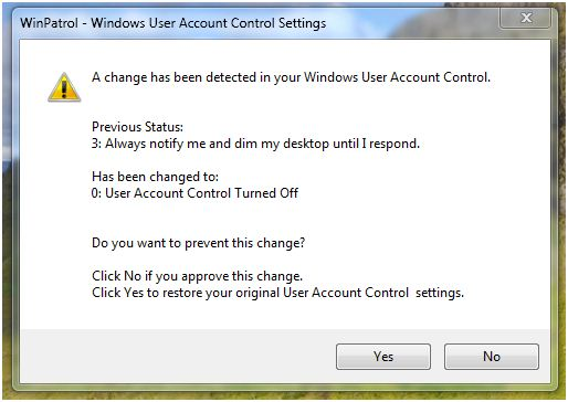 WinPatrol alerts you if someone disables User Account Control