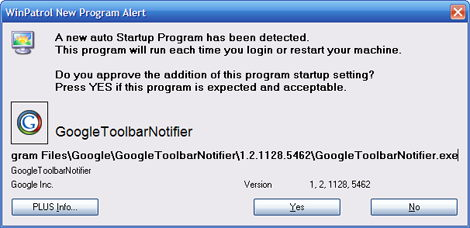 sample of a winpatrol alert when google toolbar notifier is detected